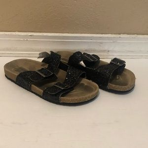 Crazy 8 girls black glitter sandals size 12 used